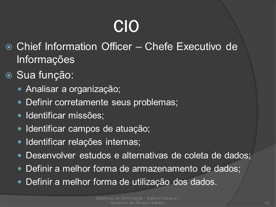 CIO Chief Information Officer – Chefe Executivo de Informações Sua função: Analisar a organização; Definir corretamente seus problemas; Identificar mi