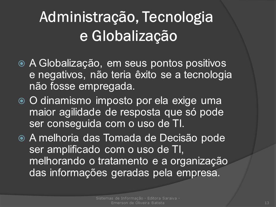 Administração, Tecnologia e Globalização A Globalização, em seus pontos positivos e negativos, não teria êxito se a tecnologia não fosse empregada. O