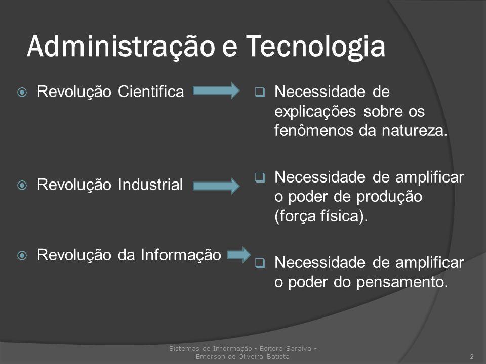 Administração e Tecnologia Revolução Cientifica Revolução Industrial Revolução da Informação Necessidade de explicações sobre os fenômenos da natureza