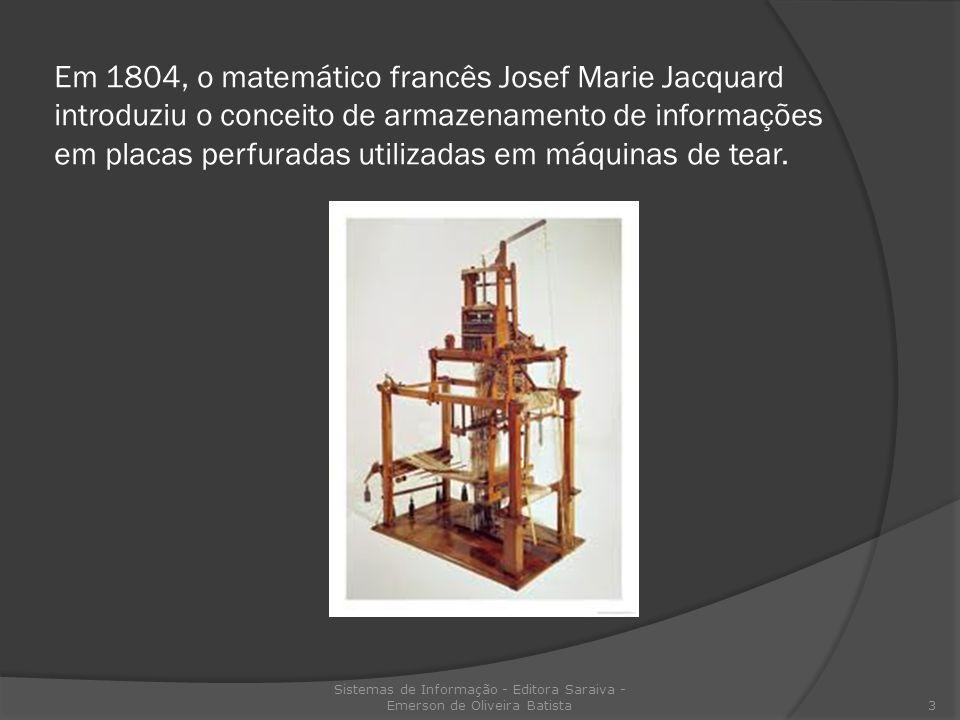 Em 1804, o matemático francês Josef Marie Jacquard introduziu o conceito de armazenamento de informações em placas perfuradas utilizadas em máquinas d