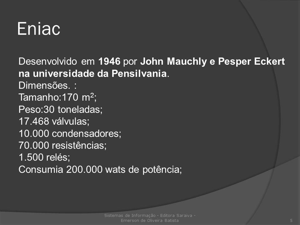 Eniac Sistemas de Informação - Editora Saraiva - Emerson de Oliveira Batista 5 Desenvolvido em 1946 por John Mauchly e Pesper Eckert na universidade d