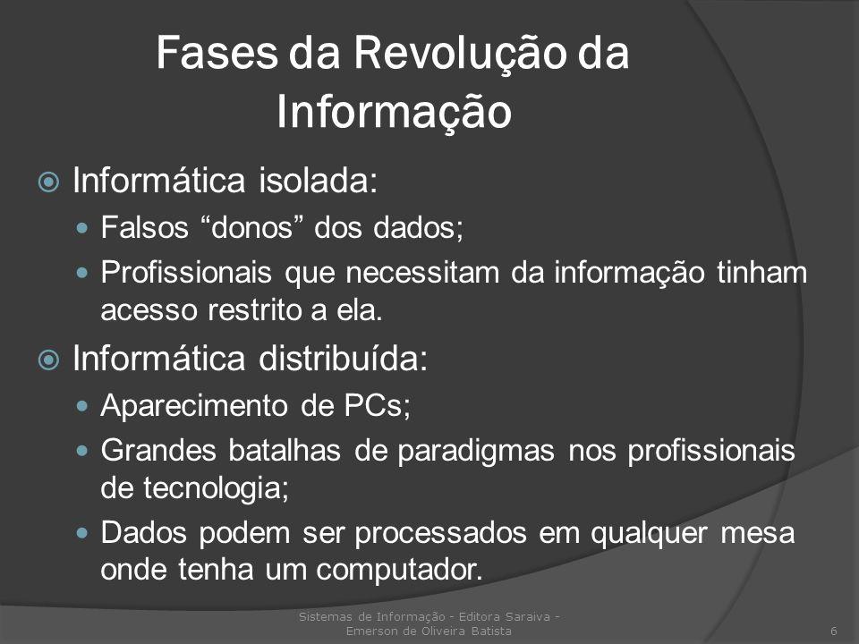 Fases da Revolução da Informação Informática isolada: Falsos donos dos dados; Profissionais que necessitam da informação tinham acesso restrito a ela.