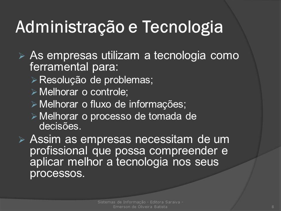 Administração e Tecnologia As empresas utilizam a tecnologia como ferramental para: Resolução de problemas; Melhorar o controle; Melhorar o fluxo de i
