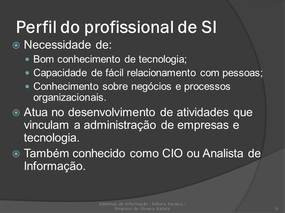 Perfil do profissional de SI Necessidade de: Bom conhecimento de tecnologia; Capacidade de fácil relacionamento com pessoas; Conhecimento sobre negóci
