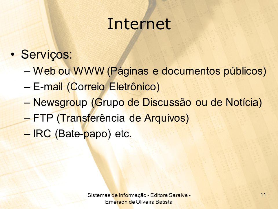 Sistemas de Informação - Editora Saraiva - Emerson de Oliveira Batista 11 Internet Serviços: –Web ou WWW (Páginas e documentos públicos) –E-mail (Correio Eletrônico) –Newsgroup (Grupo de Discussão ou de Notícia) –FTP (Transferência de Arquivos) –IRC (Bate-papo) etc.