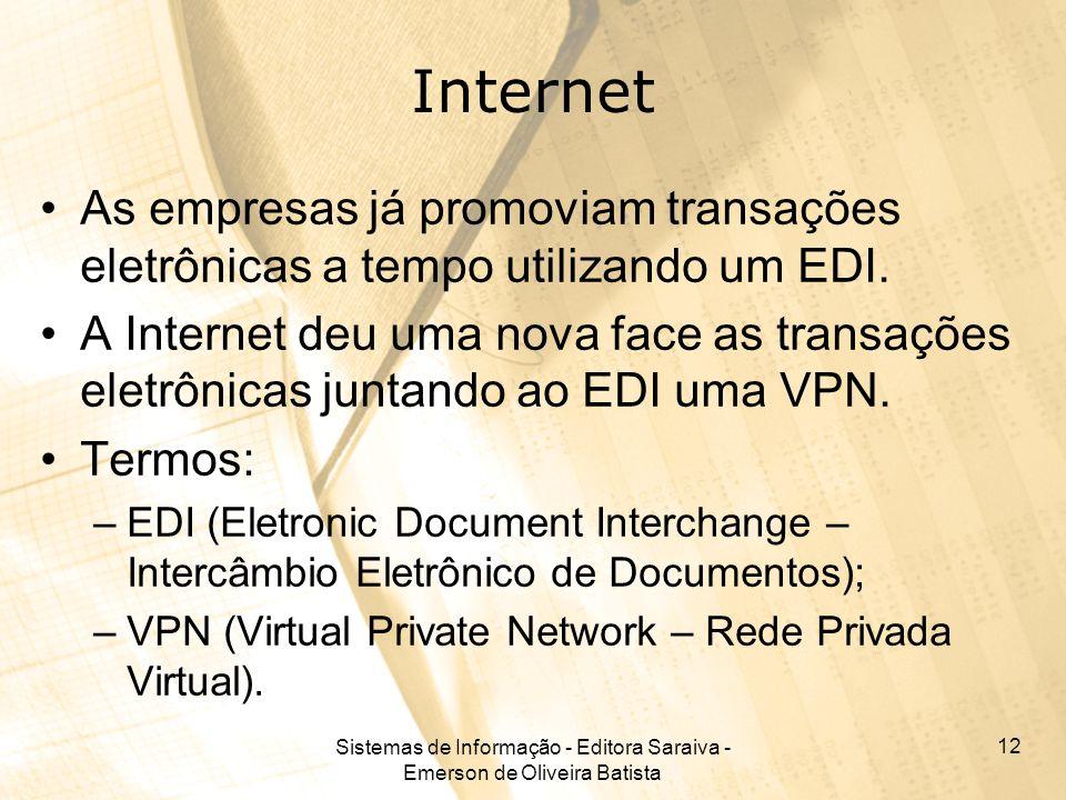 Sistemas de Informação - Editora Saraiva - Emerson de Oliveira Batista 12 Internet As empresas já promoviam transações eletrônicas a tempo utilizando um EDI.