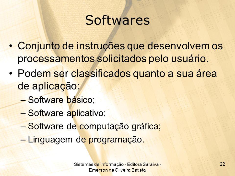 Sistemas de Informação - Editora Saraiva - Emerson de Oliveira Batista 22 Softwares Conjunto de instruções que desenvolvem os processamentos solicitados pelo usuário.