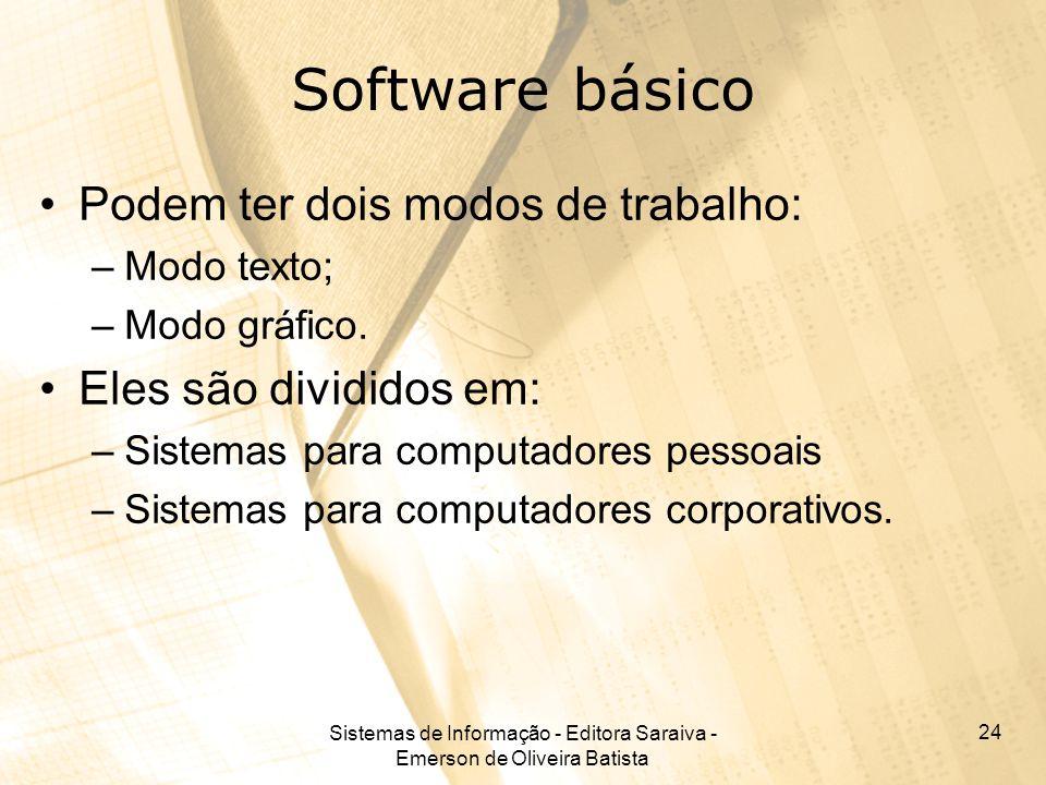 Sistemas de Informação - Editora Saraiva - Emerson de Oliveira Batista 24 Software básico Podem ter dois modos de trabalho: –Modo texto; –Modo gráfico.