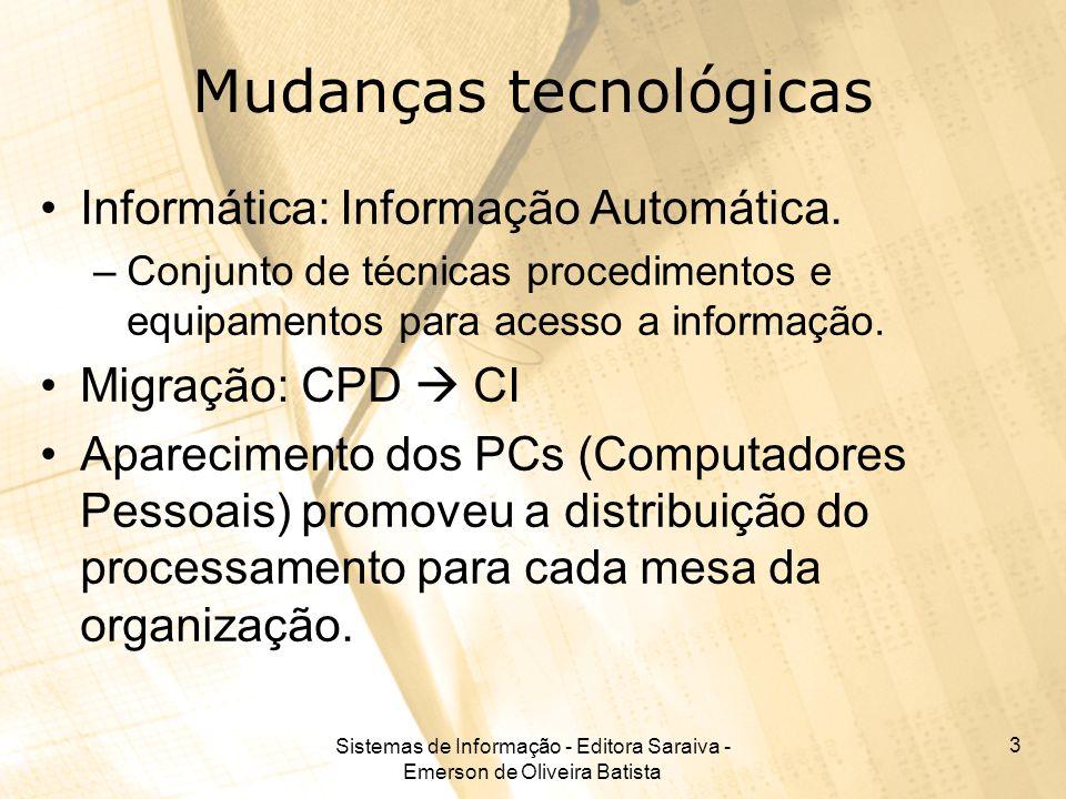 Sistemas de Informação - Editora Saraiva - Emerson de Oliveira Batista 14 Armazenamento de dados Tipos de armazenamento: –Magnético Mais utilizado, são discos e fitas magnéticas –Óptico Mais novo, mas amplamente em uso, são os CDs e DVDs.