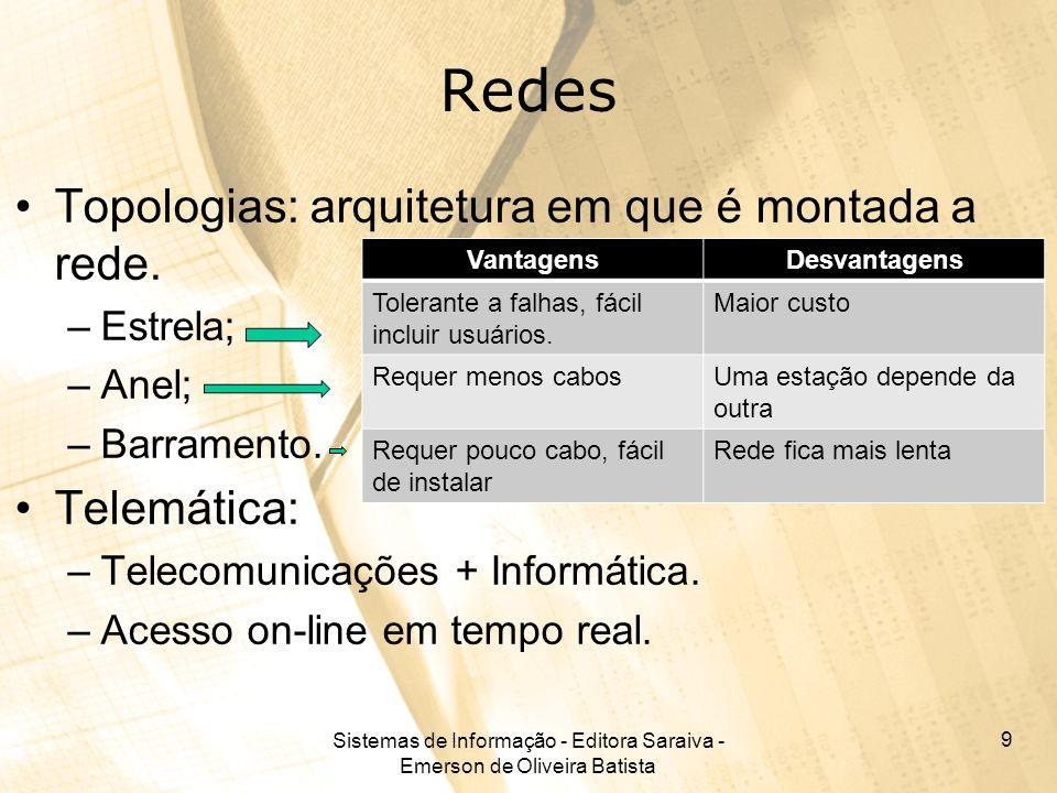 Sistemas de Informação - Editora Saraiva - Emerson de Oliveira Batista 9 Redes Topologias: arquitetura em que é montada a rede.