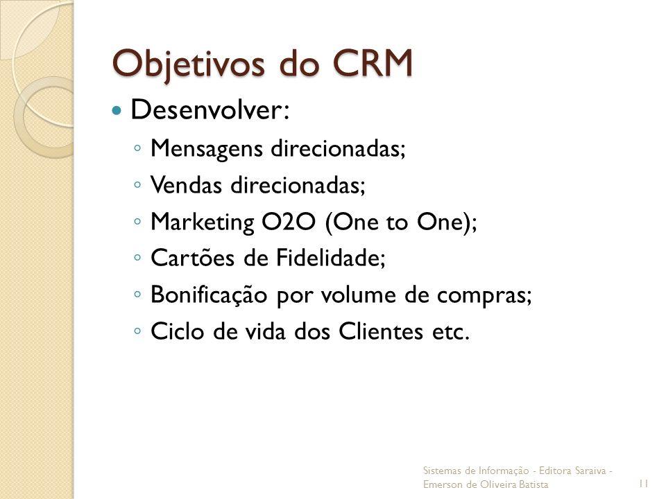 Objetivos do CRM Desenvolver: Mensagens direcionadas; Vendas direcionadas; Marketing O2O (One to One); Cartões de Fidelidade; Bonificação por volume d