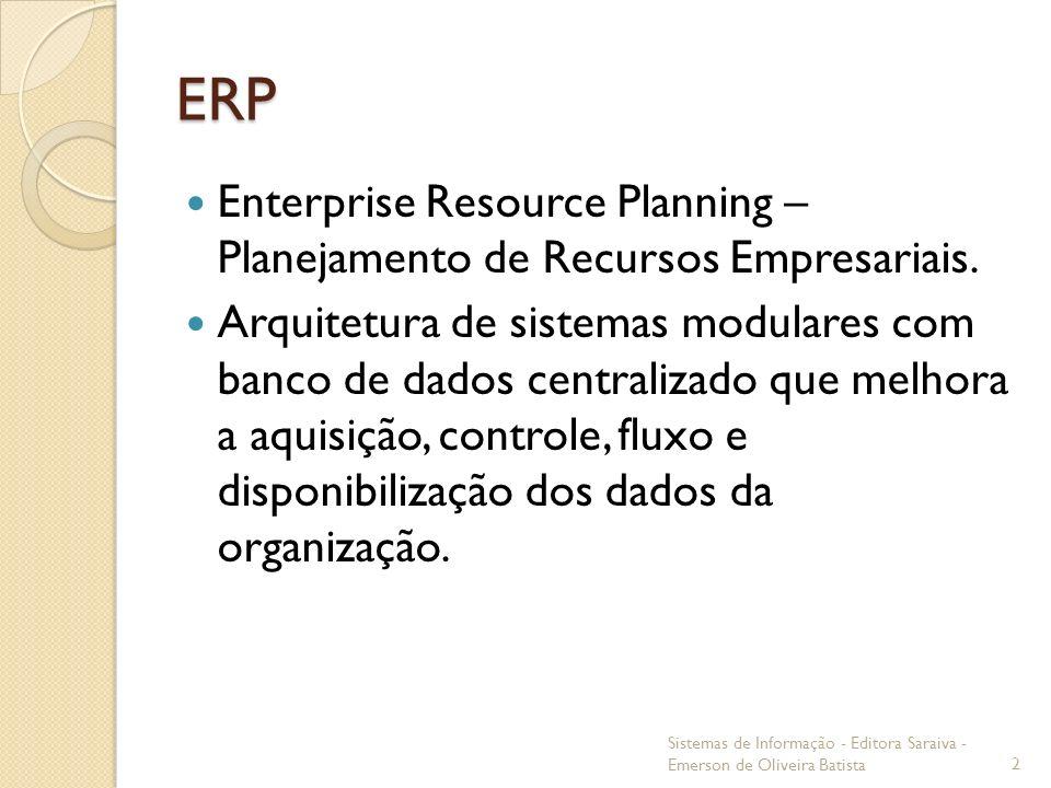 ERP Enterprise Resource Planning – Planejamento de Recursos Empresariais. Arquitetura de sistemas modulares com banco de dados centralizado que melhor