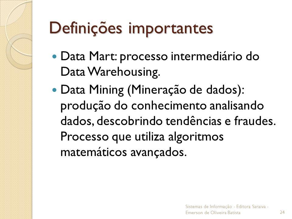 Definições importantes Data Mart: processo intermediário do Data Warehousing. Data Mining (Mineração de dados): produção do conhecimento analisando da