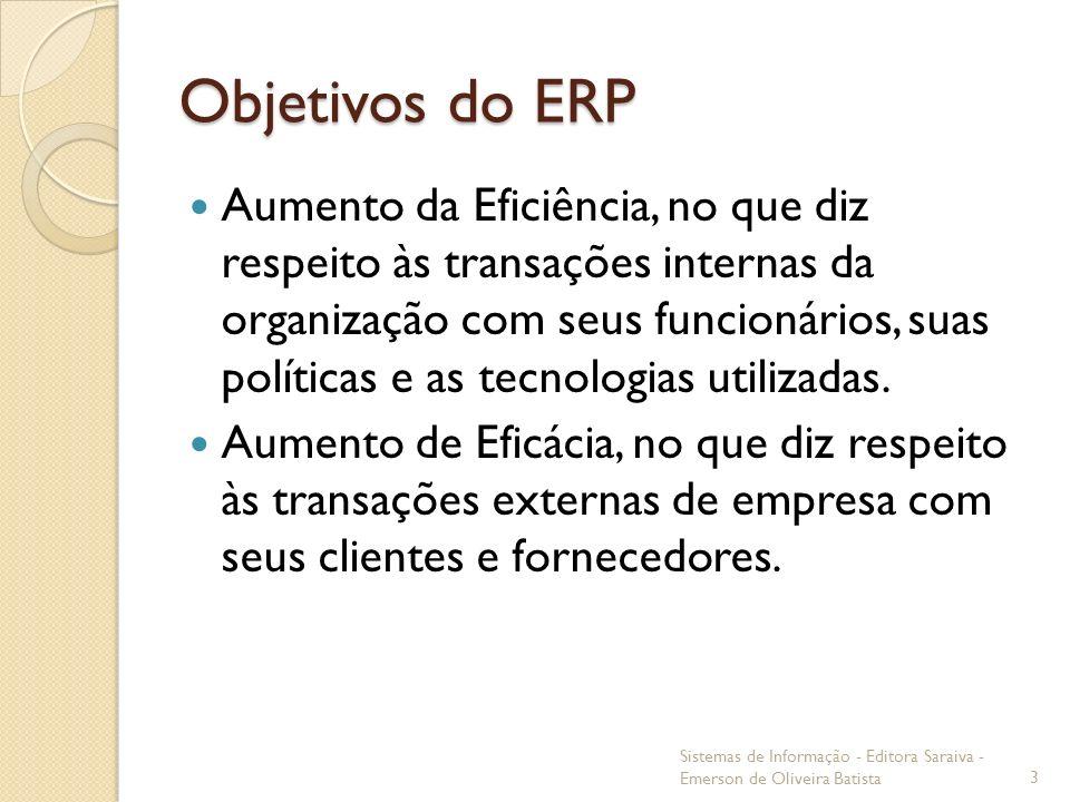 Objetivos do ERP Aumento da Eficiência, no que diz respeito às transações internas da organização com seus funcionários, suas políticas e as tecnologi