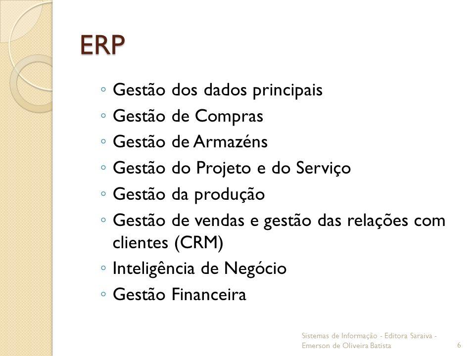 ERP Gestão dos dados principais Gestão de Compras Gestão de Armazéns Gestão do Projeto e do Serviço Gestão da produção Gestão de vendas e gestão das r