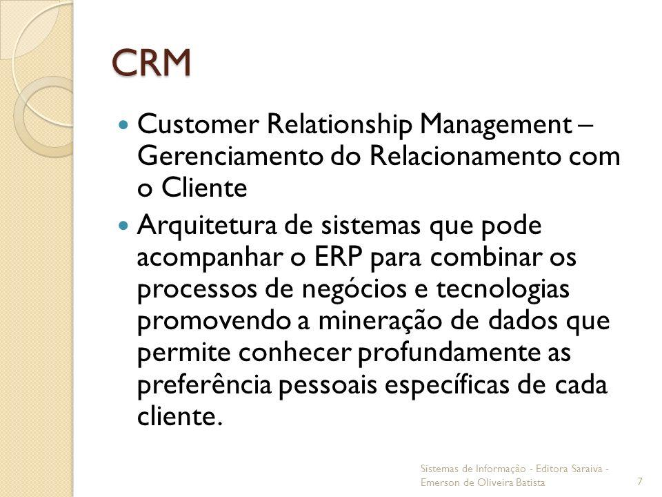 CRM Customer Relationship Management – Gerenciamento do Relacionamento com o Cliente Arquitetura de sistemas que pode acompanhar o ERP para combinar o