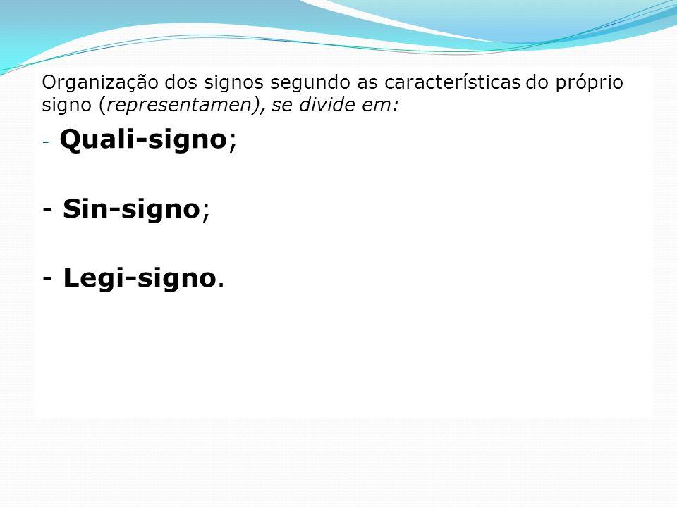 Organização dos signos segundo as características do próprio signo (representamen), se divide em: - Quali-signo; - Sin-signo; - Legi-signo.