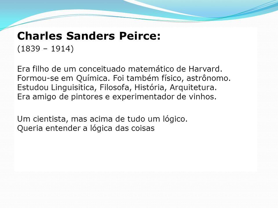 Charles Sanders Peirce: (1839 – 1914) Era filho de um conceituado matemático de Harvard. Formou-se em Química. Foi também físico, astrônomo. Estudou L
