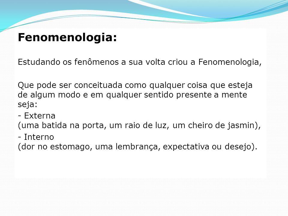 Fenomenologia: Estudando os fenômenos a sua volta criou a Fenomenologia, Que pode ser conceituada como qualquer coisa que esteja de algum modo e em qu