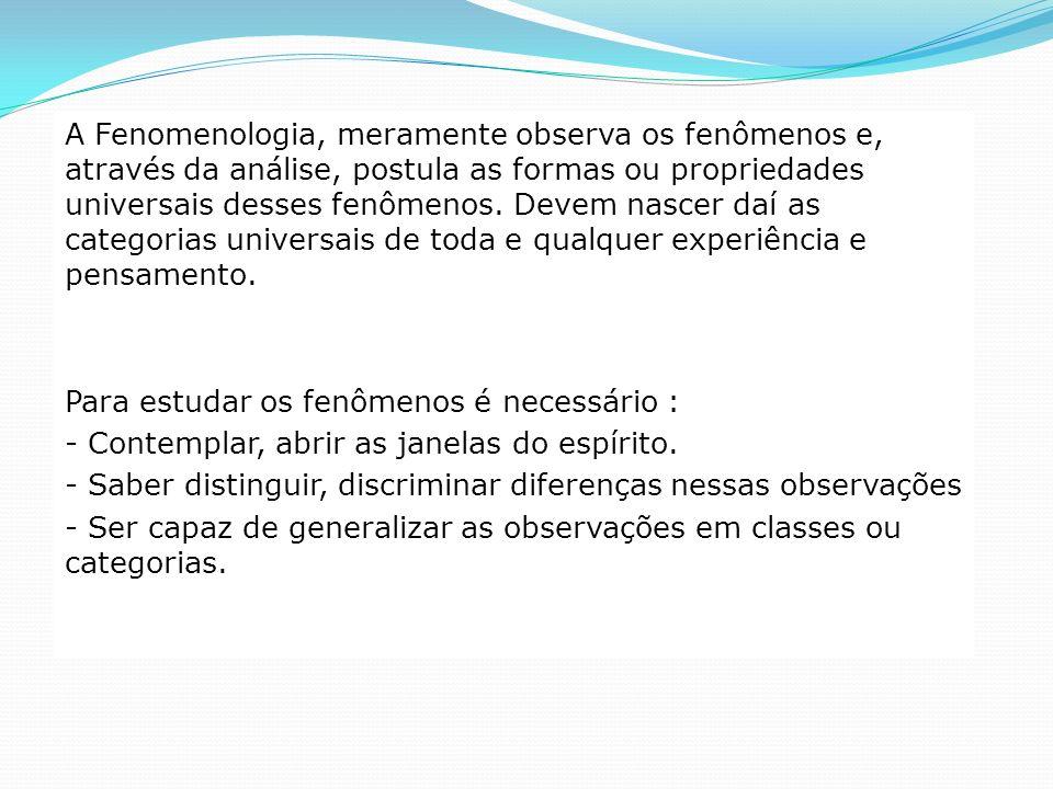 A Fenomenologia, meramente observa os fenômenos e, através da análise, postula as formas ou propriedades universais desses fenômenos. Devem nascer daí