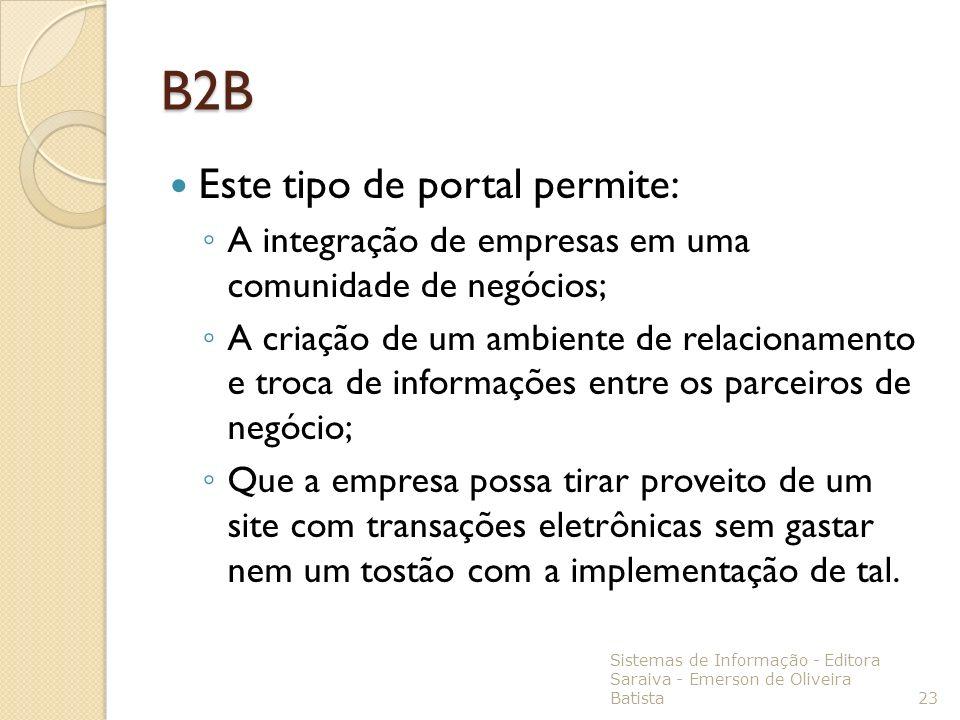 B2B Este tipo de portal permite: A integração de empresas em uma comunidade de negócios; A criação de um ambiente de relacionamento e troca de informa