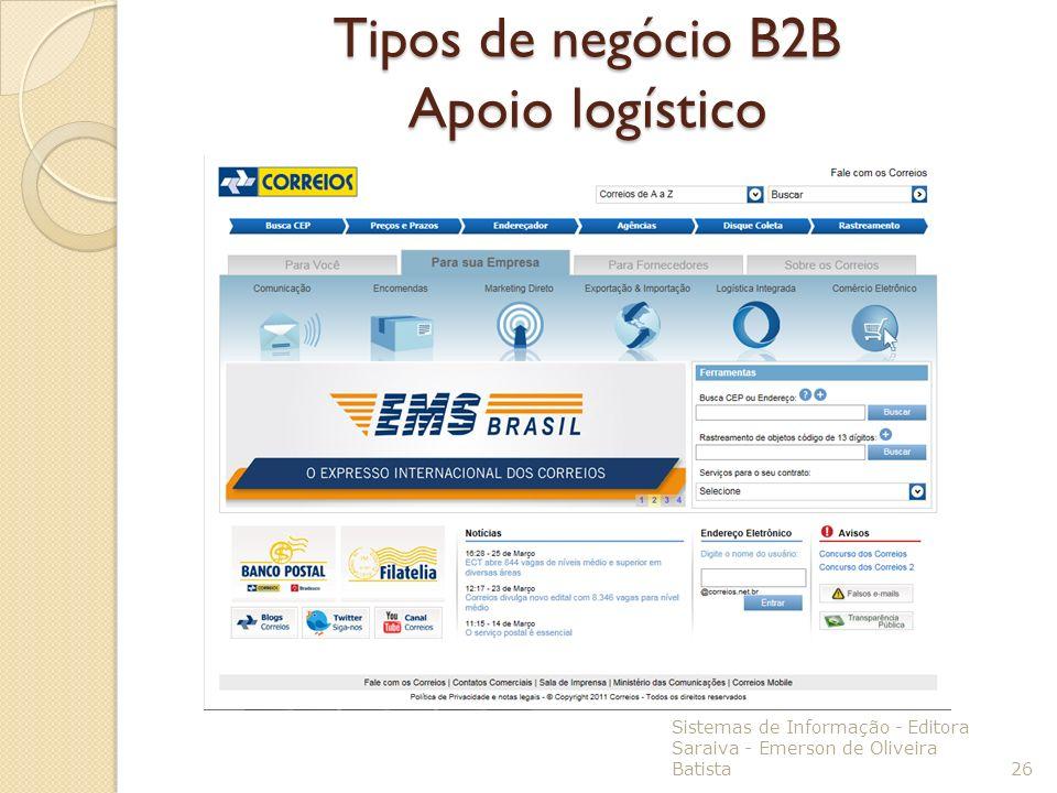 Tipos de negócio B2B Apoio logístico Sistemas de Informação - Editora Saraiva - Emerson de Oliveira Batista 26