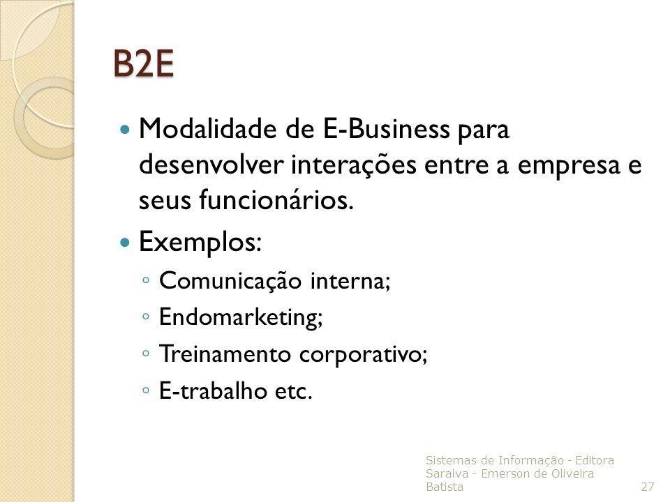 B2E Modalidade de E-Business para desenvolver interações entre a empresa e seus funcionários. Exemplos: Comunicação interna; Endomarketing; Treinament