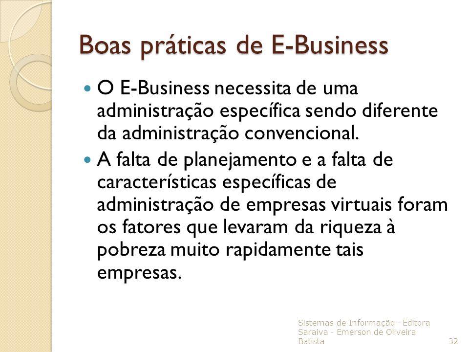 Boas práticas de E-Business O E-Business necessita de uma administração específica sendo diferente da administração convencional. A falta de planejame