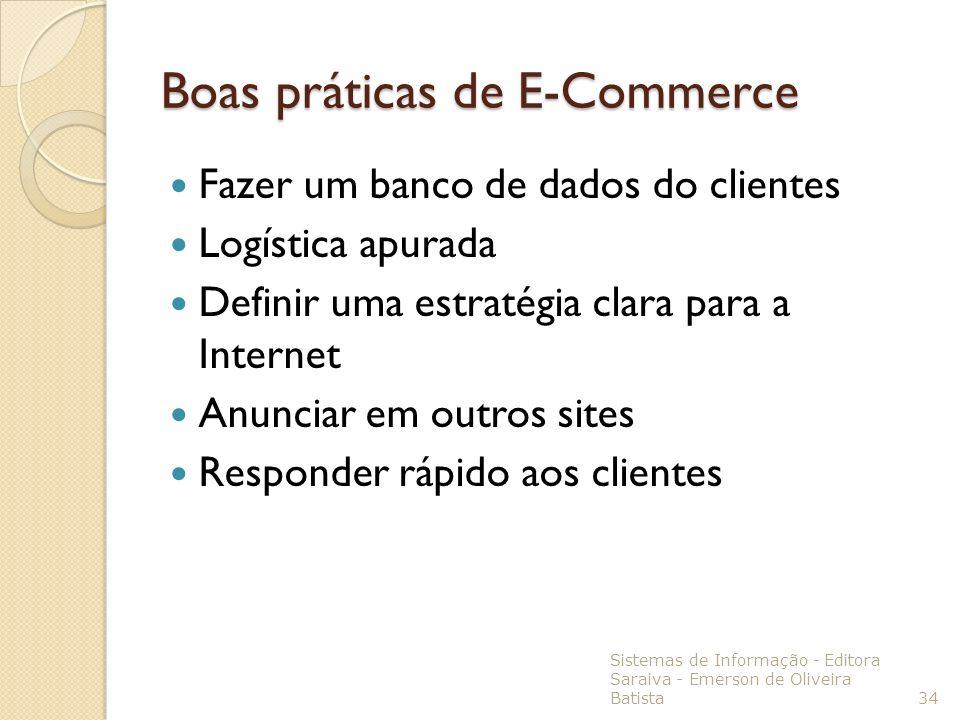 Boas práticas de E-Commerce Fazer um banco de dados do clientes Logística apurada Definir uma estratégia clara para a Internet Anunciar em outros site