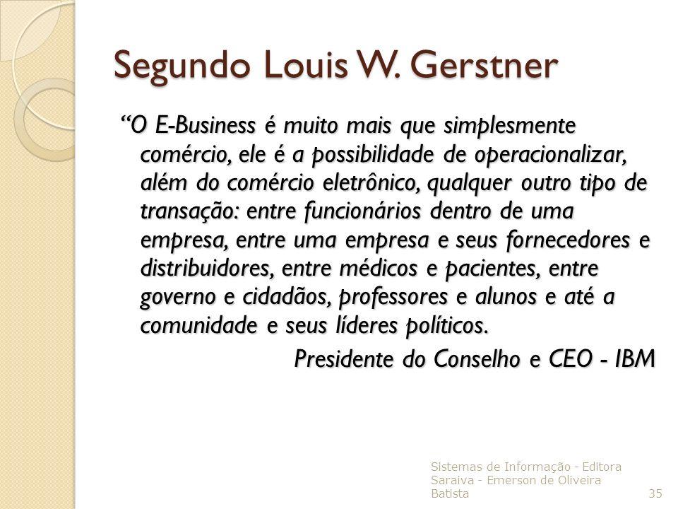 Segundo Louis W. Gerstner O E-Business é muito mais que simplesmente comércio, ele é a possibilidade de operacionalizar, além do comércio eletrônico,