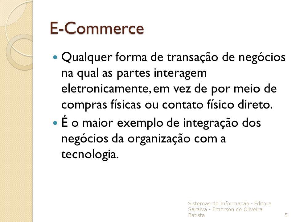E-Commerce Qualquer forma de transação de negócios na qual as partes interagem eletronicamente, em vez de por meio de compras físicas ou contato físic