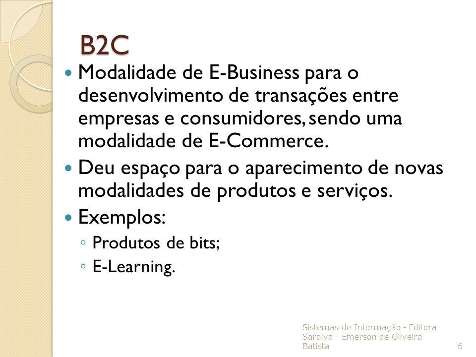 B2C Modalidade de E-Business para o desenvolvimento de transações entre empresas e consumidores, sendo uma modalidade de E-Commerce. Deu espaço para o