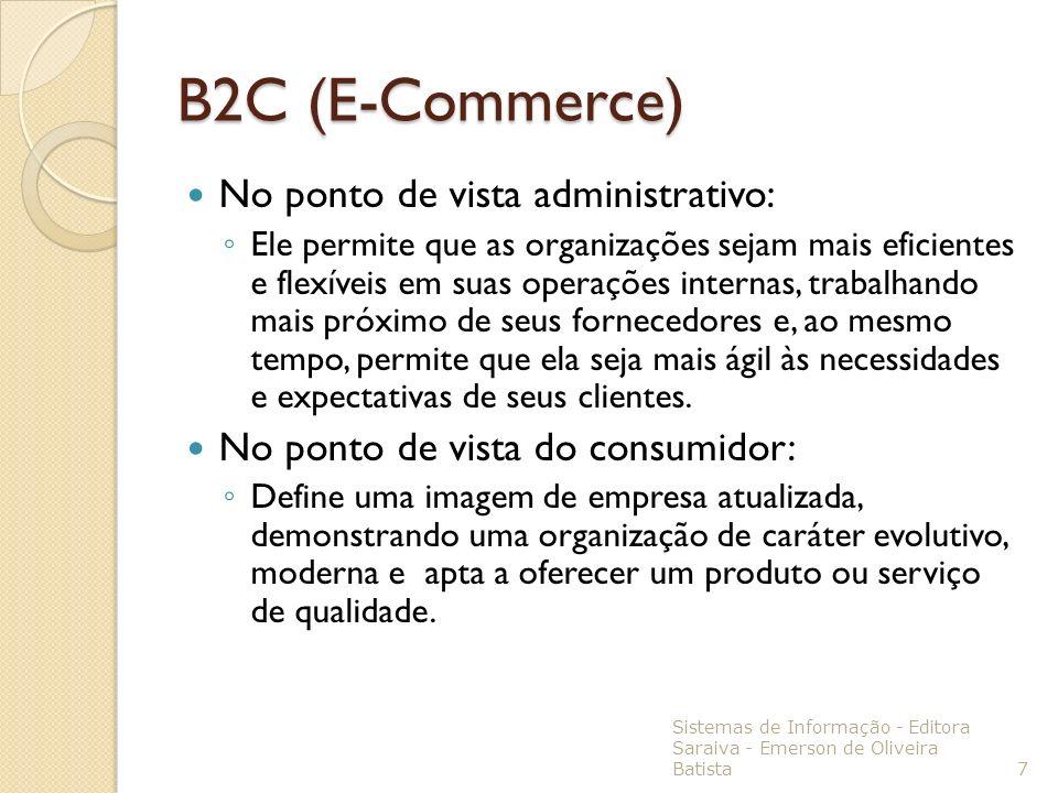 B2C (E-Commerce) No ponto de vista administrativo: Ele permite que as organizações sejam mais eficientes e flexíveis em suas operações internas, traba