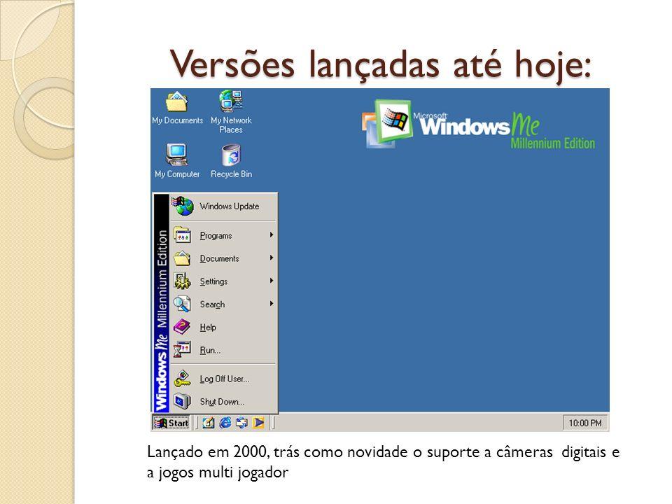 Versões lançadas até hoje: Lançado em 2000, trás como novidade o suporte a câmeras digitais e a jogos multi jogador