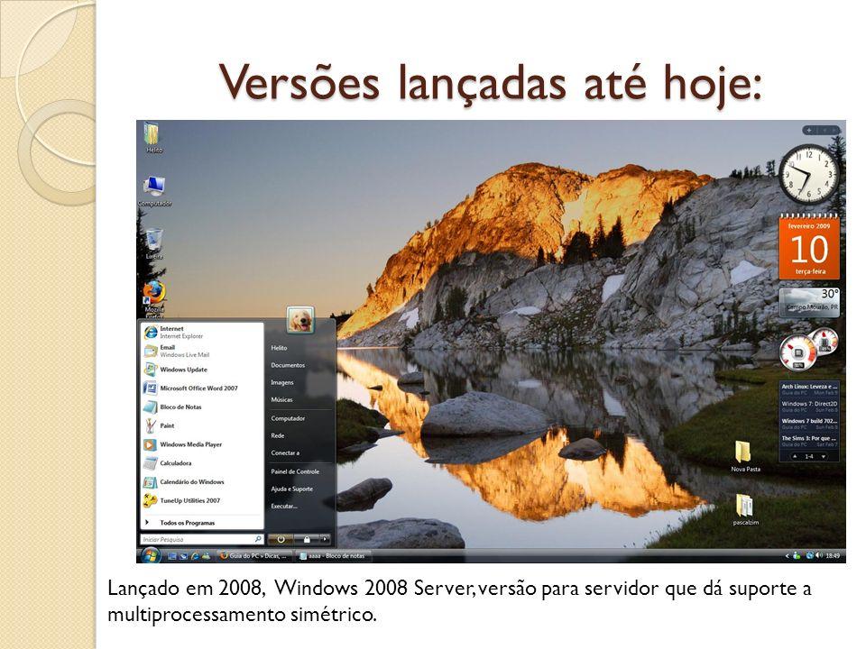 Versões lançadas até hoje: Lançado em 2008, Windows 2008 Server, versão para servidor que dá suporte a multiprocessamento simétrico.