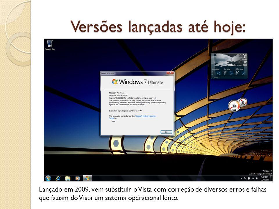 Versões lançadas até hoje: Lançado em 2009, vem substituir o Vista com correção de diversos erros e falhas que faziam do Vista um sistema operacional