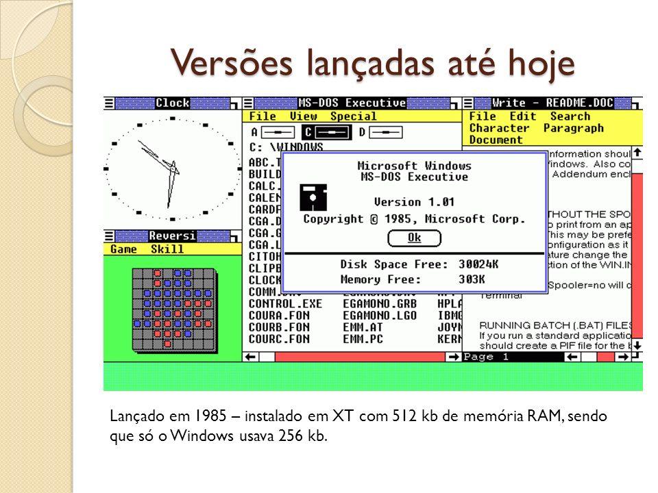 Versões lançadas até hoje Lançado em 1985 – instalado em XT com 512 kb de memória RAM, sendo que só o Windows usava 256 kb.