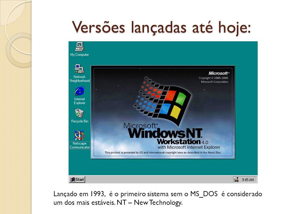 Versões lançadas até hoje: Lançado em 1993, é o primeiro sistema sem o MS_DOS é considerado um dos mais estáveis. NT – New Technology.