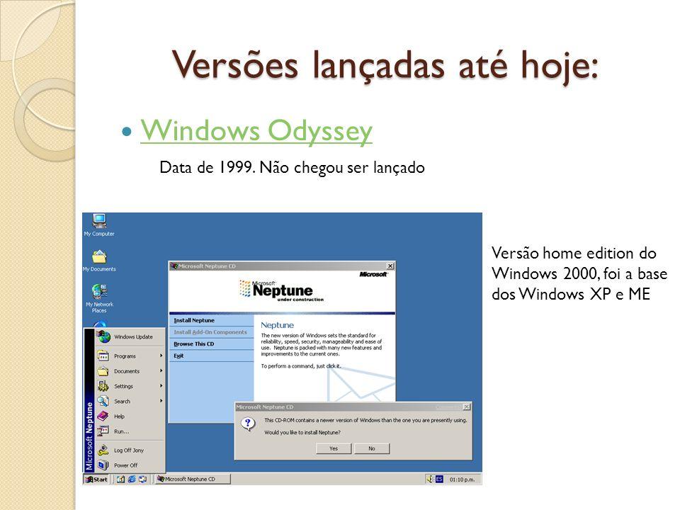 Versões lançadas até hoje: Windows Odyssey Data de 1999. Não chegou ser lançado Versão home edition do Windows 2000, foi a base dos Windows XP e ME
