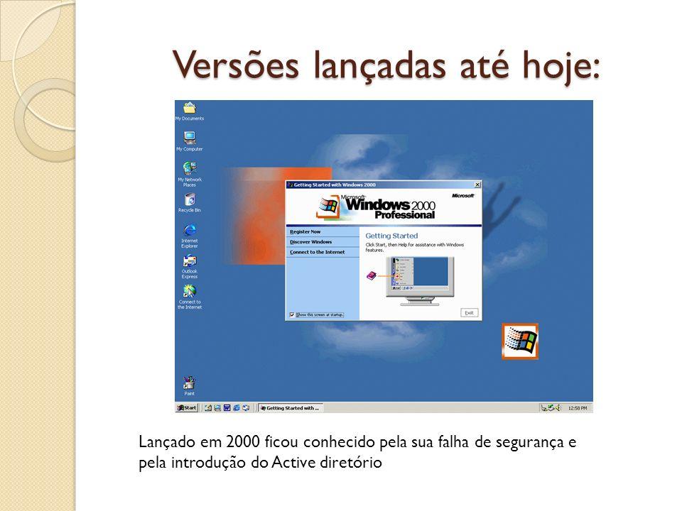 Versões lançadas até hoje: Lançado em 2000 ficou conhecido pela sua falha de segurança e pela introdução do Active diretório