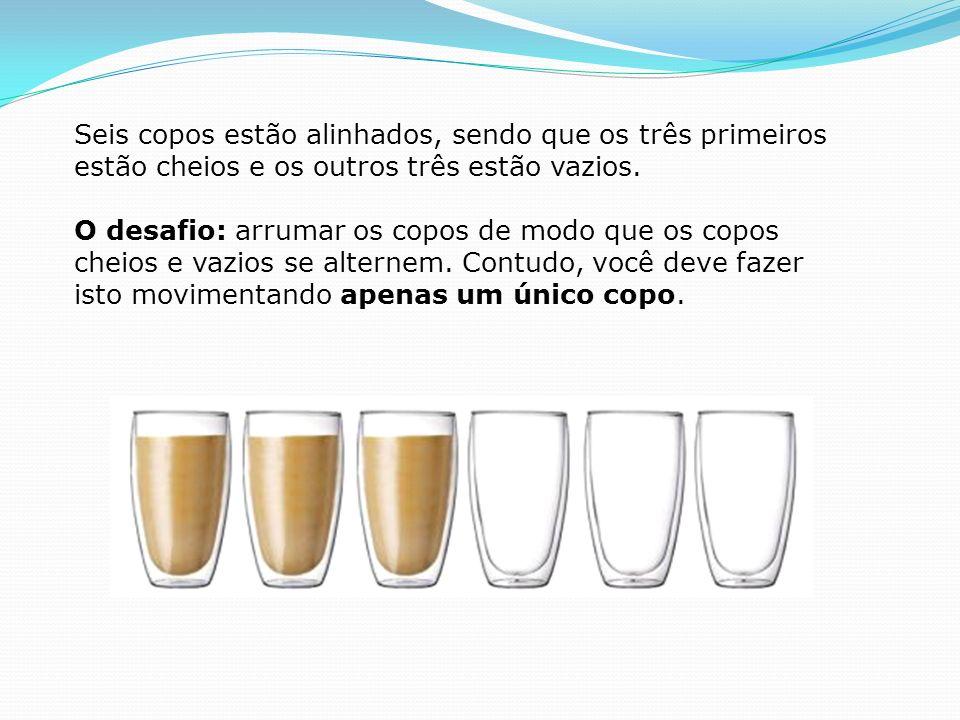 Seis copos estão alinhados, sendo que os três primeiros estão cheios e os outros três estão vazios. O desafio: arrumar os copos de modo que os copos c
