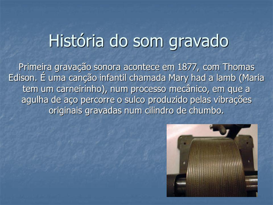 História do som gravado 1880 – Alexandre Graham Bell sugere a substituição dos cilindros por discos, chatos, planos, como os conhecemos hoje.