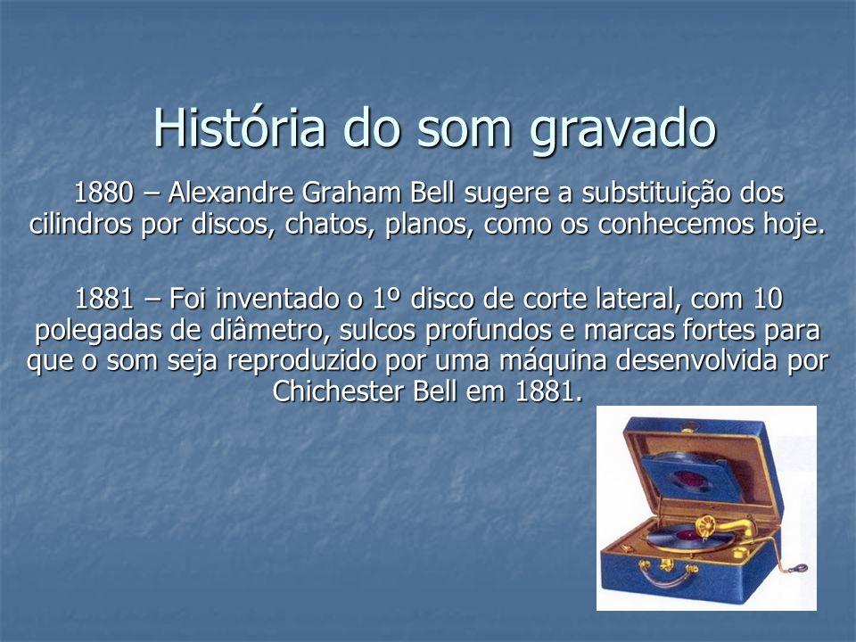 História do som gravado 1885 – Foi Inventado por Chichester Bell e Charles Tainter um segundo tipo de fonógrafo, o Grafofone.