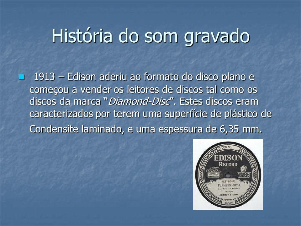 História do som gravado 1925 – surge a gravação elétrica (gravação ortofônica).