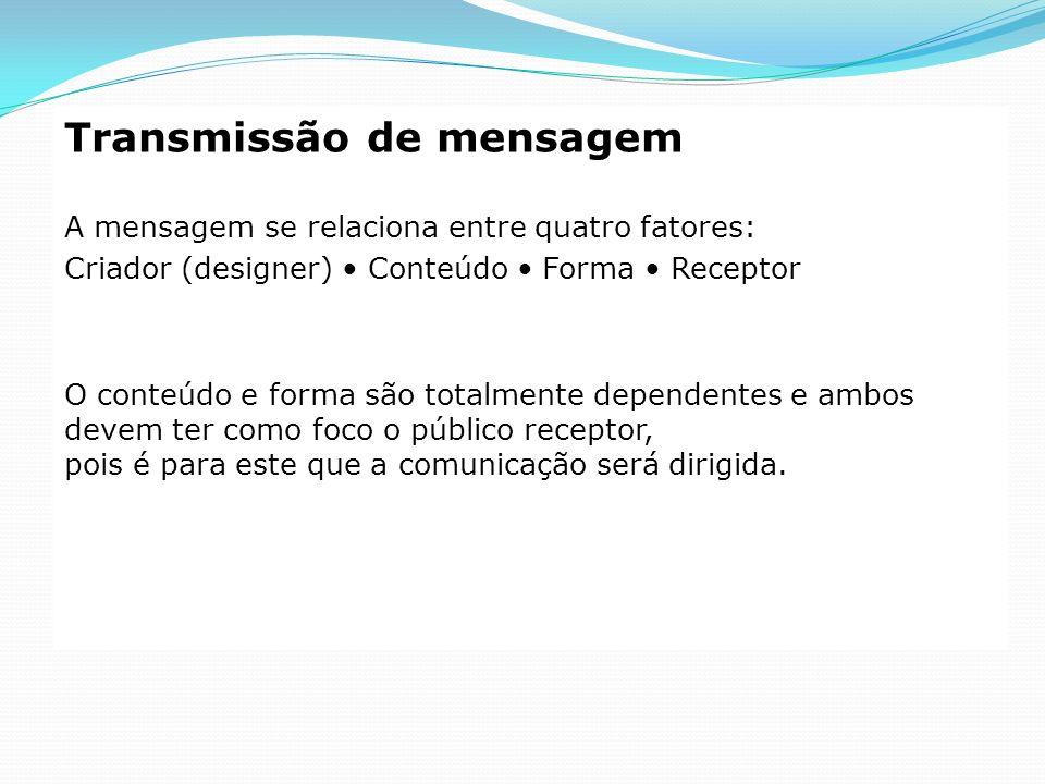 Transmissão de mensagem A mensagem se relaciona entre quatro fatores: Criador (designer) Conteúdo Forma Receptor O conteúdo e forma são totalmente dep