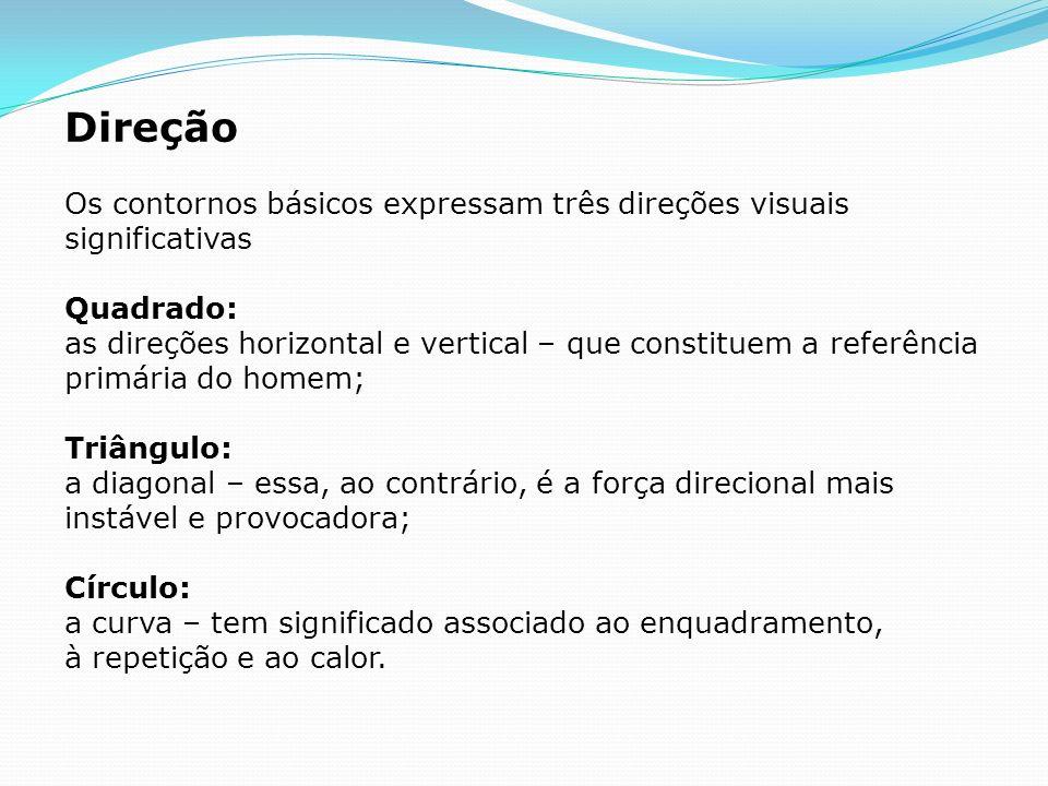 Direção Os contornos básicos expressam três direções visuais significativas Quadrado: as direções horizontal e vertical – que constituem a referência