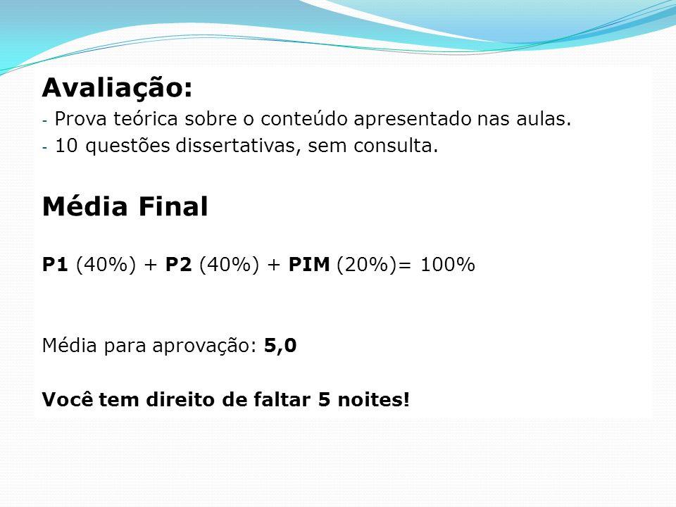 Avaliação: - Prova teórica sobre o conteúdo apresentado nas aulas. - 10 questões dissertativas, sem consulta. Média Final P1 (40%) + P2 (40%) + PIM (2