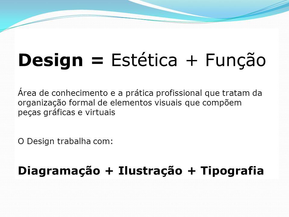 Design = Estética + Função Área de conhecimento e a prática profissional que tratam da organização formal de elementos visuais que compõem peças gráfi