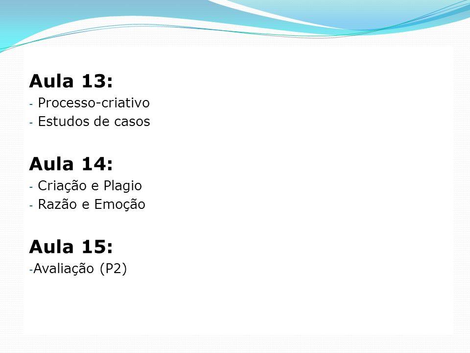 Aula 13: - Processo-criativo - Estudos de casos Aula 14: - Criação e Plagio - Razão e Emoção Aula 15: - Avaliação (P2)