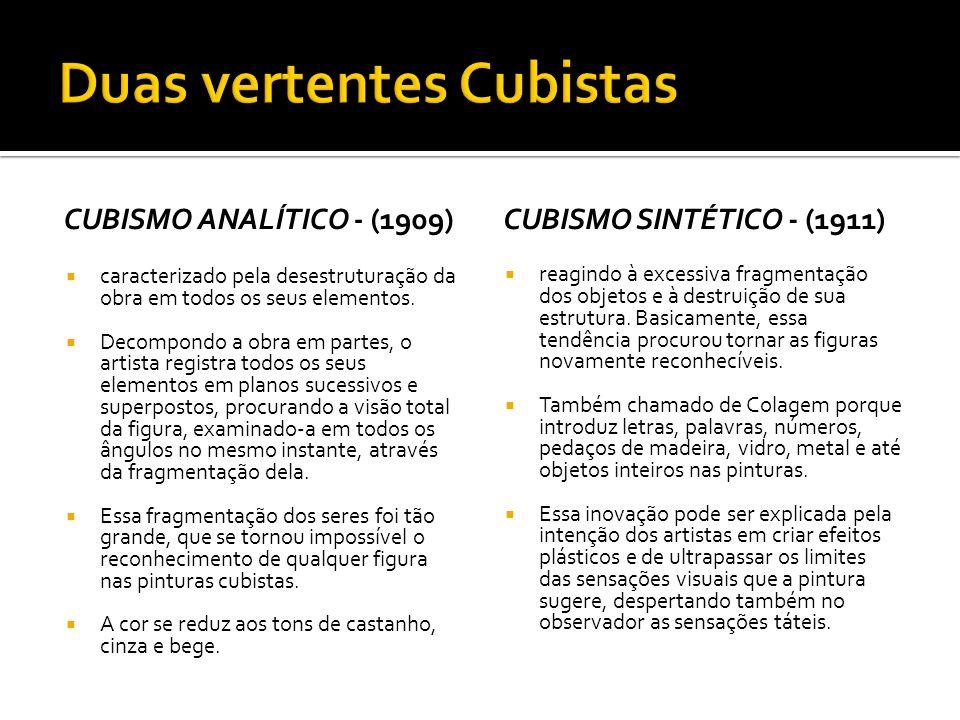 CUBISMO ANALÍTICO - (1909) caracterizado pela desestruturação da obra em todos os seus elementos. Decompondo a obra em partes, o artista registra todo